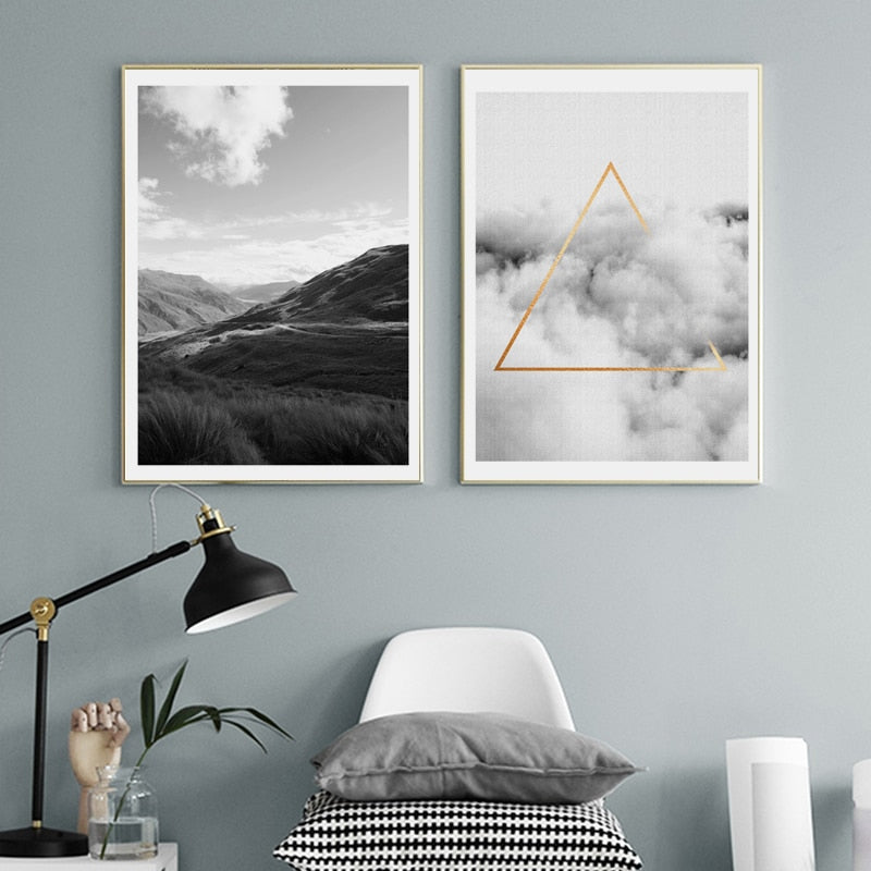Nordic Landscape And Sky Gold Triangle In The Clouds Minimalist Wall Art Posters Black White Fine Art Canvas Prints For Modern Interior Decor