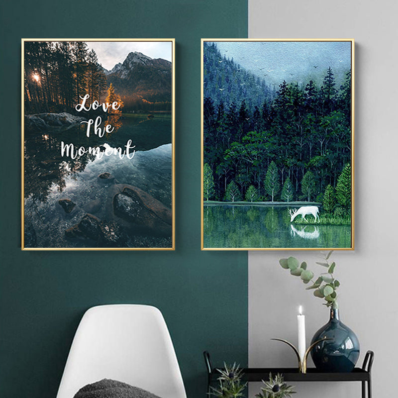 Nordic Landscape Inspirational Quotes Posters Canvas Giclee Print Paintings Natural Scenery Wall Art Pictures for Living Room Home Decor