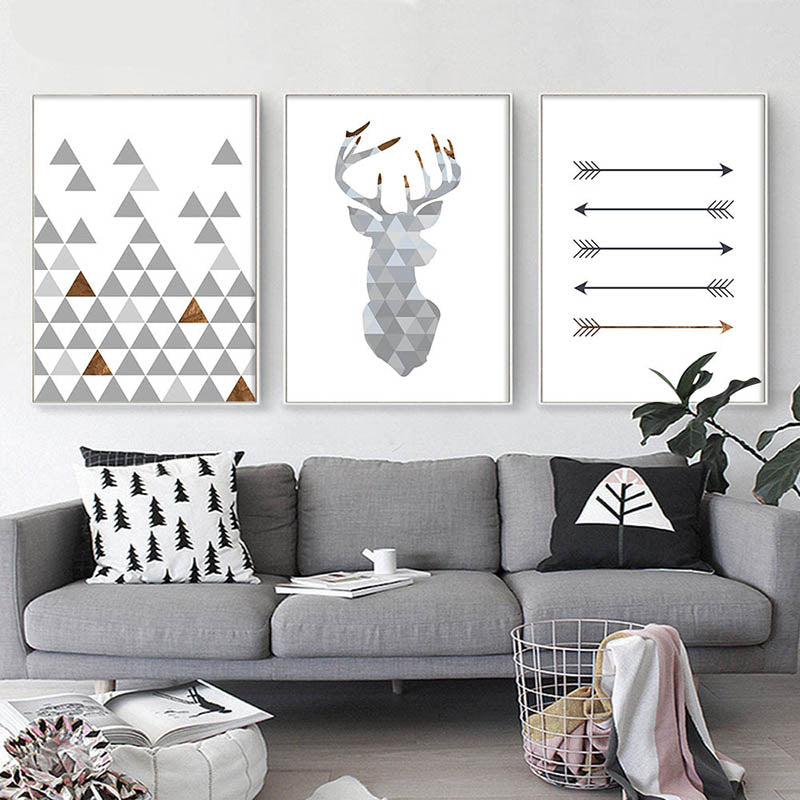 Nordic Minimalist Style Geometric Arrows Triangle Deer Wall Art Fine Art Canvas Prints Scandinavian Abstract Posters For Living Room Decor