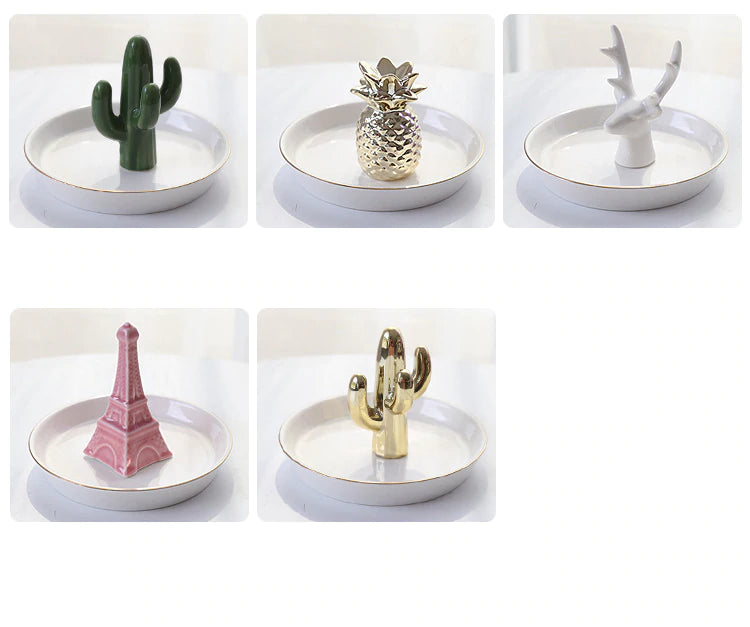 Nordic Style Bone China Ceramic Plates Miniature Flamingo Pineapple Cactus Rabbit Deer Eiffel Tower Elephant Baby Jewelry Tray Decorative Ornaments