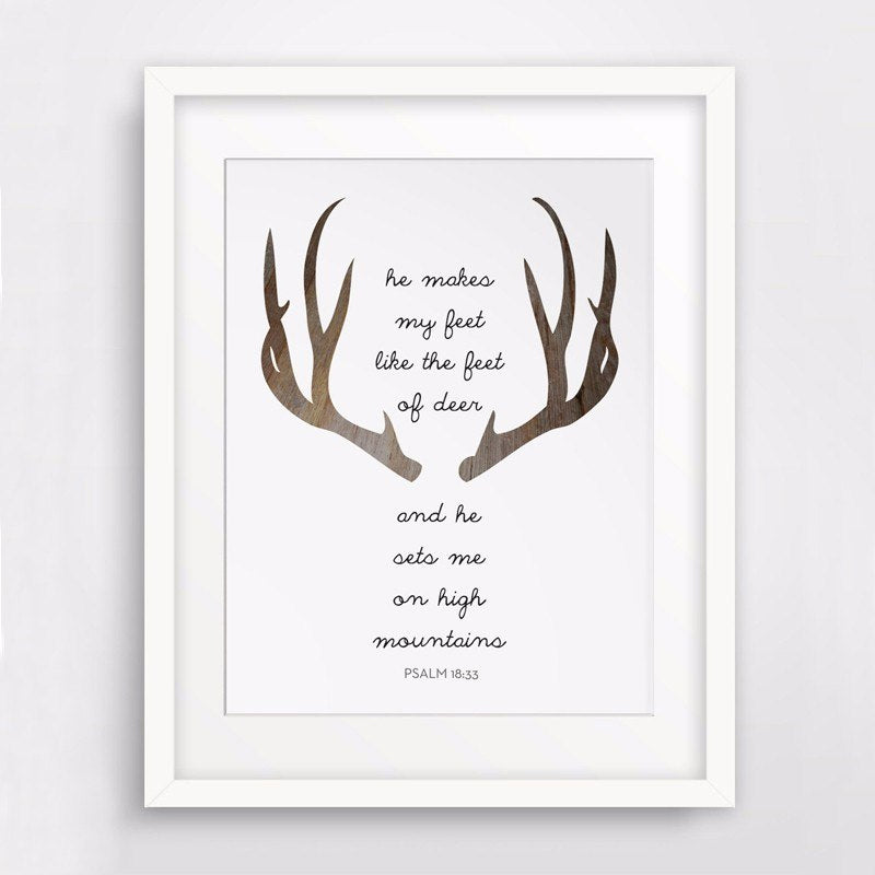 Nordic Style Modern Art Deer and Antlers Themed Bible Verse on Canvas Wall Poster Print Modern Christian Wall Art Home Decor