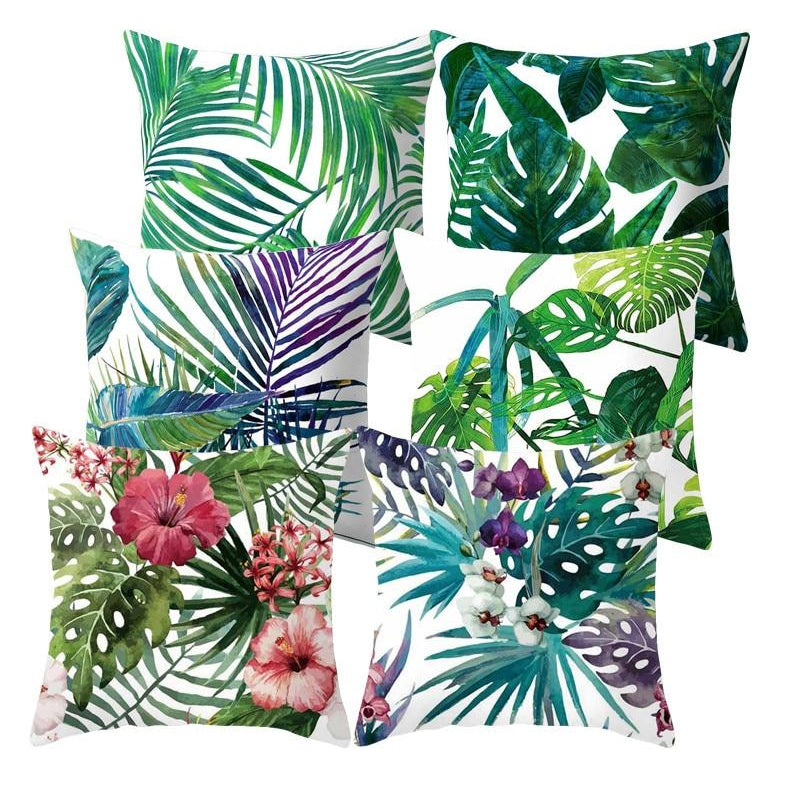 Nordic Style Tropical Floral Cushion Covers Colorful Palm Leaves Pillow Covers For 45CM X 45CM Cushions For Stylish Modern Home Decoration