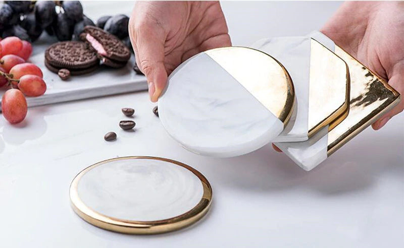 Nordic Table Decoration Gold & Marble Style Drinks Mats Ceramic Coasters For Coffee Table Kitchen Dining Room Table Modern Scandinavian Decor