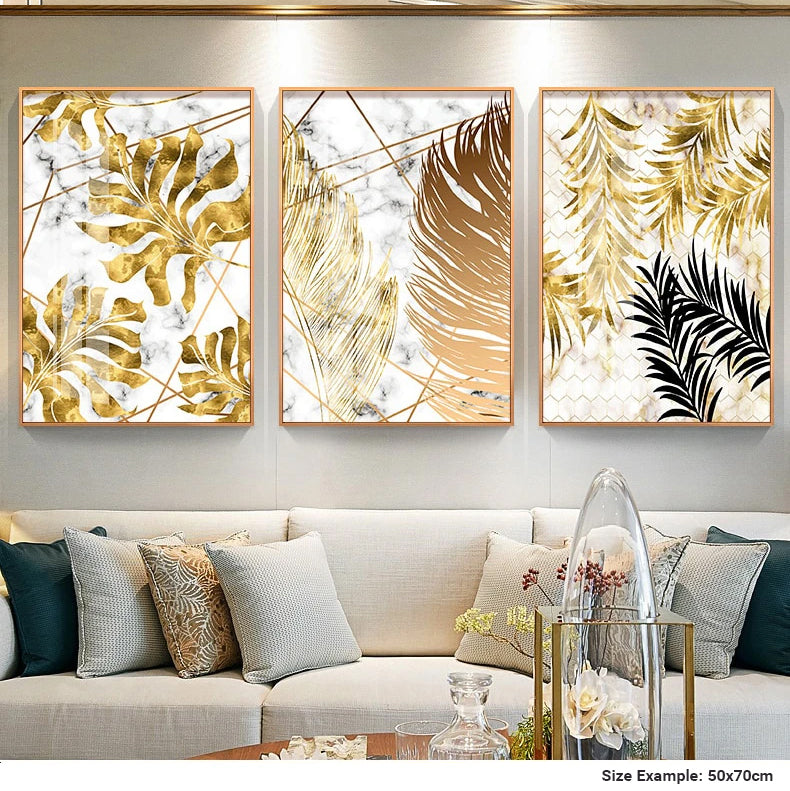 Nordic Tropical Gold Leaves Abstract Wall Art Posters Fine Art Canvas Prints For Modern Office Or Apartment Pictures For Living Room Decor
