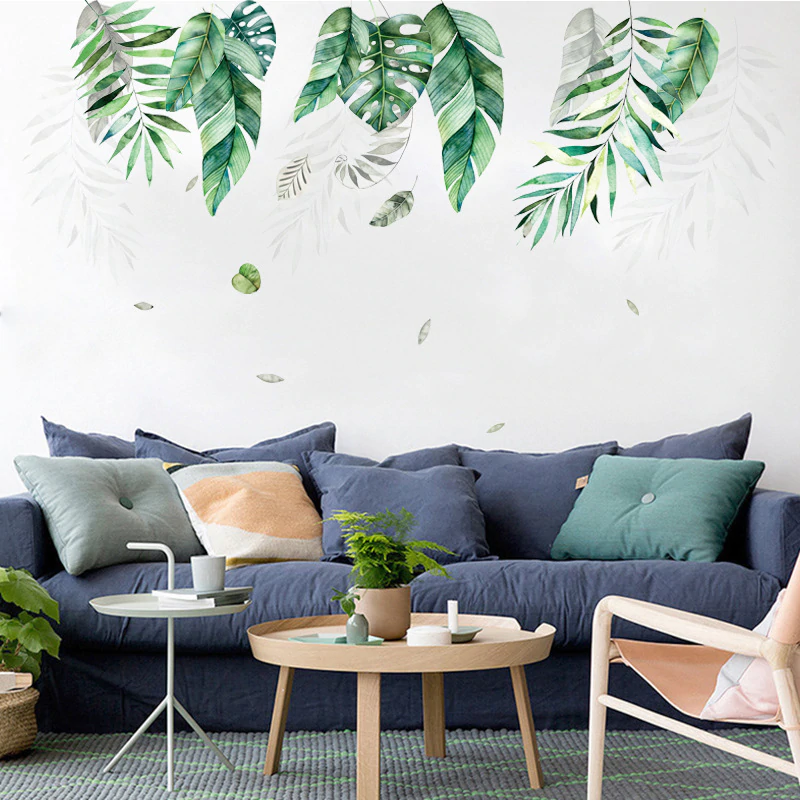 Nordic Tropical Green Leaves Wall Art Mural Removable PVC Wall Decals For Living Room Dining Room Children's Playroom DIY Wall Art Decoration