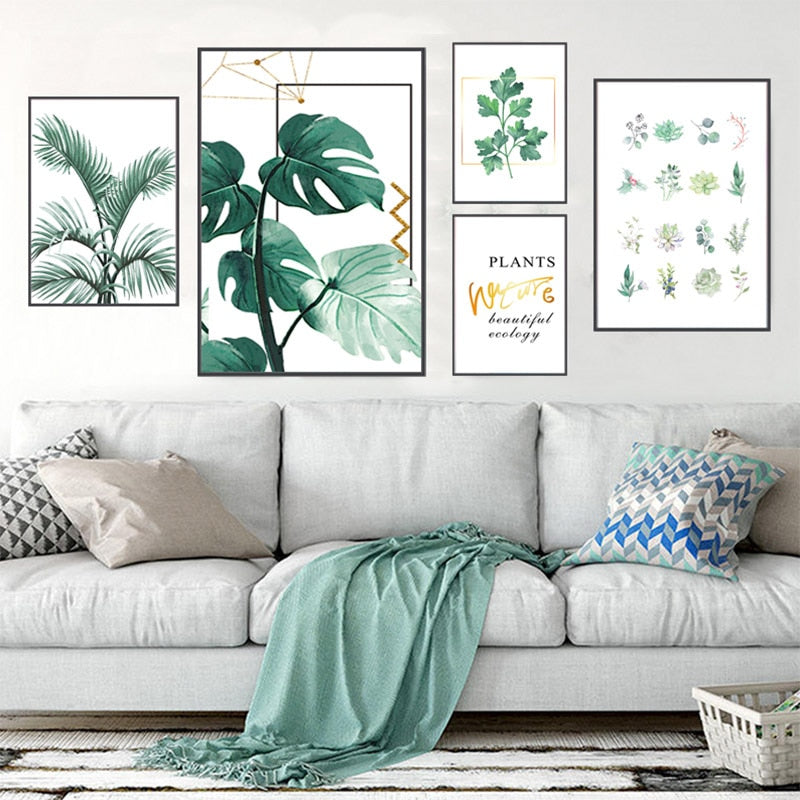 Nordic Tropical Leaves Wall Art Green Leaf Monstera Deliciosa House Plant  Paintings Fine Art Canvas Prints For Modern Living Room Dining Room Decor