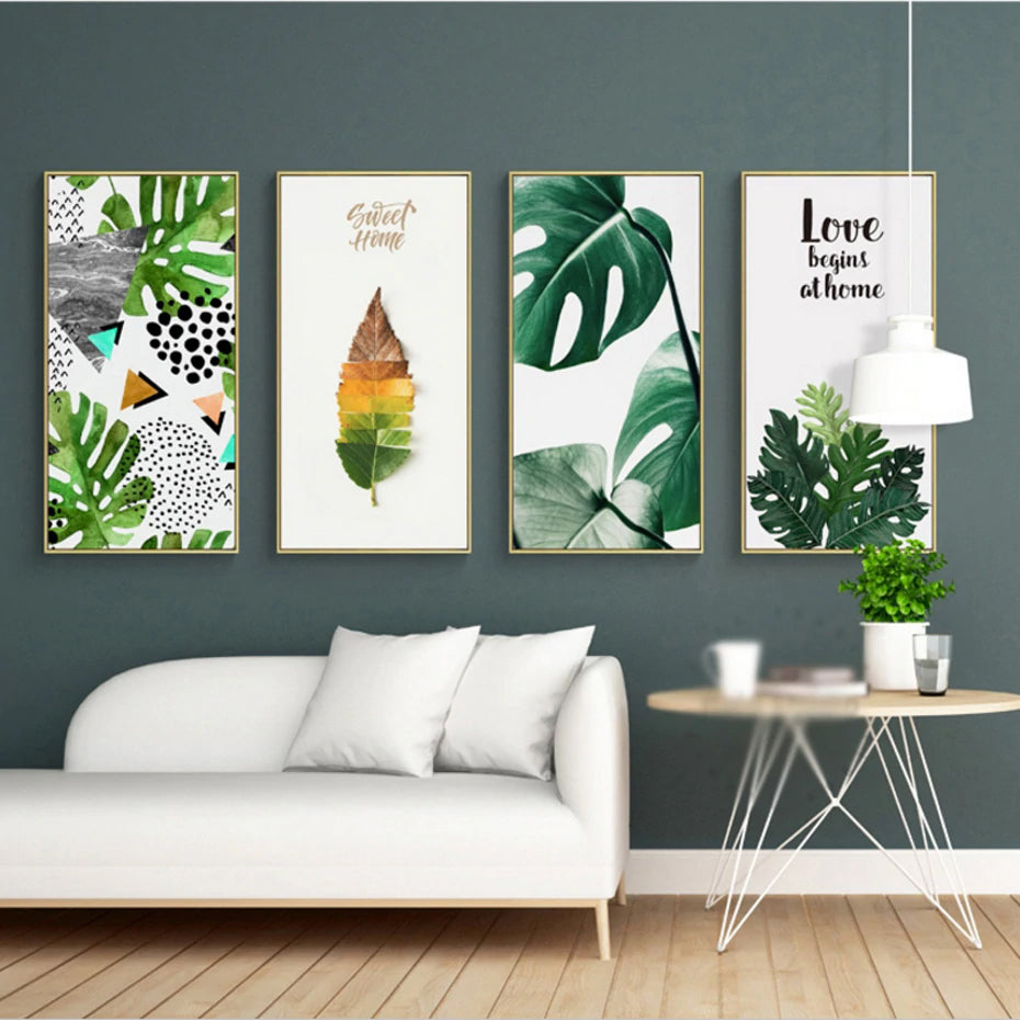 Nordic Tropical Wall Art Green Leaves Colorful Simple Abstract Nature Palm  Posters Fine Art Prints For Modern Living Room Home Decor