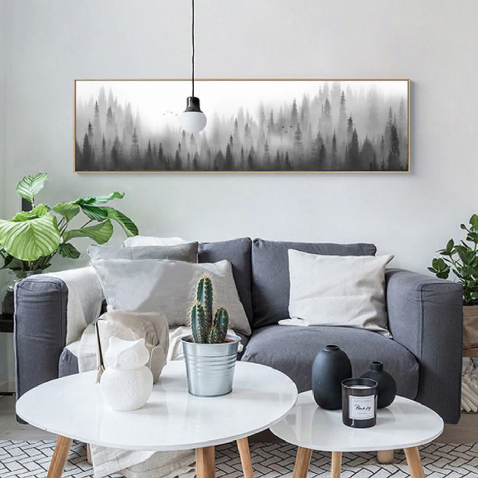 Nordic Woodland Landscape Panorama Wide Format Morning Mist Wilderness Forest Wall Art Canvas Prints For Living Room Modern Home Decor