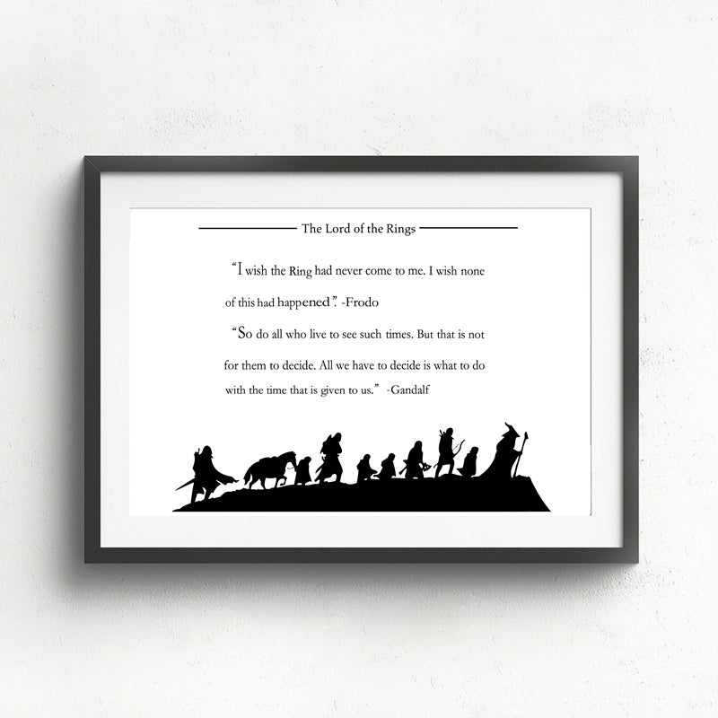 Not All Those Who Wander Are Lost The Lord Of The Rings Quotation Wall Art Poster Black And White Fine Art Canvas Print Inspirational Quotes Art Decor