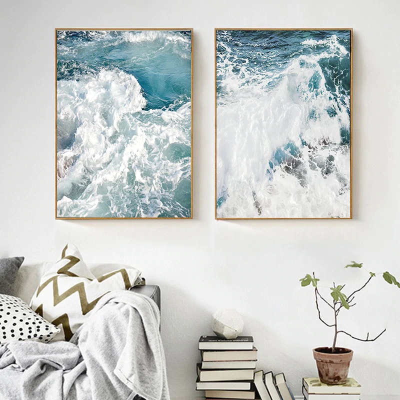 Ocean Waves Nordic Seascape Wall Art Pictures Blue Ocean Surf Posters Fine Art Canvas Prints For Office Or Living Room Home Decor