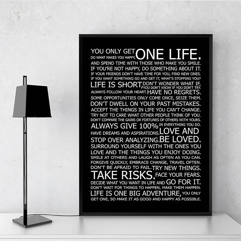 One Life Motivational Quote Poster Black and White Wall Art Fine Art Canvas Prints Inspirational Wall Decor For Office Living Room Bedroom Posters