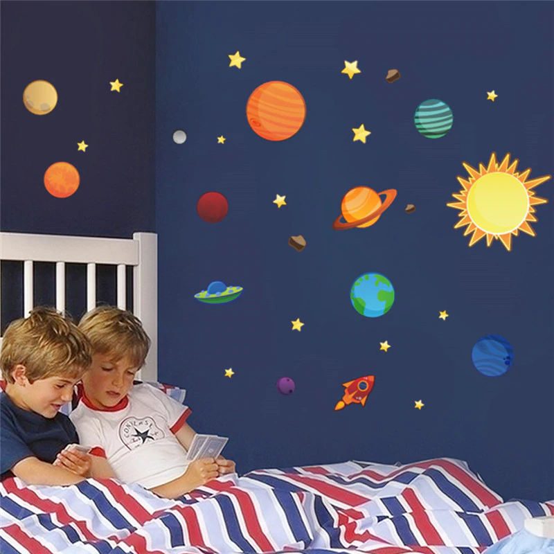Outer Space Wall Decal For Kids Bedroom Solar System Cartoon Stars Planets Sun & Moon Removable Wall Stickers For Nursery Room Classroom