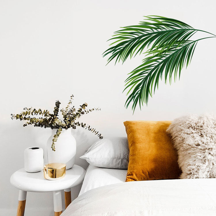 Palm Leaves Branch Simple Wall Mural Removable Peel & Stick PVC Wall Decal For Corner Wall Edge Modern Green Leaves Nordic Style Creative DIY Living Room Decor