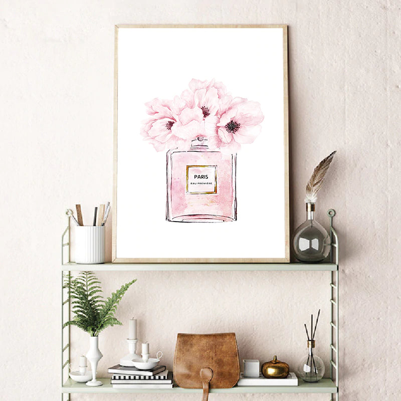Paris Fashion Book Perfume Pink Peonies Wall Art Fine Art Canvas Prints  Modern Style Posters Pictures For Bedroom Living Room Glam Decor