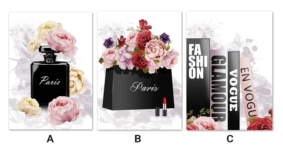 Paris Fashion Perfume & Flowers Wall Art Fine Art Canvas Prints In Vogue Posters Minimalist Pictures For Modern Salon Wall Art Glam Home Interior Decor