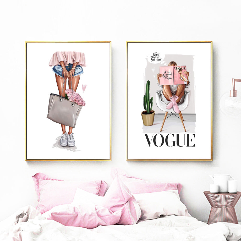Paris Vogue Flowers Fashion Wall Art Fine Art Canvas Prints Pink Floral Handbag Glamour Beauty Posters Pictures For Girls Bedroom Wall Decoration