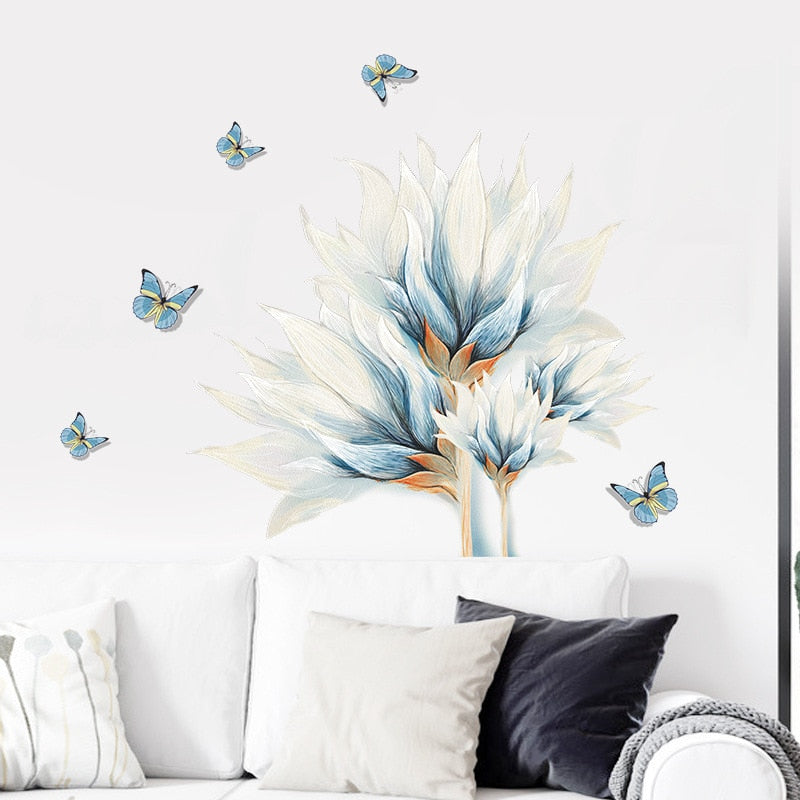 Pastel Blue Tropical Flower Butterflies Wall Mural Removable PVC Vinyl Wall Decal For Living Room Decoration Simple Creative DIY Home Makeover Wall Art Decor