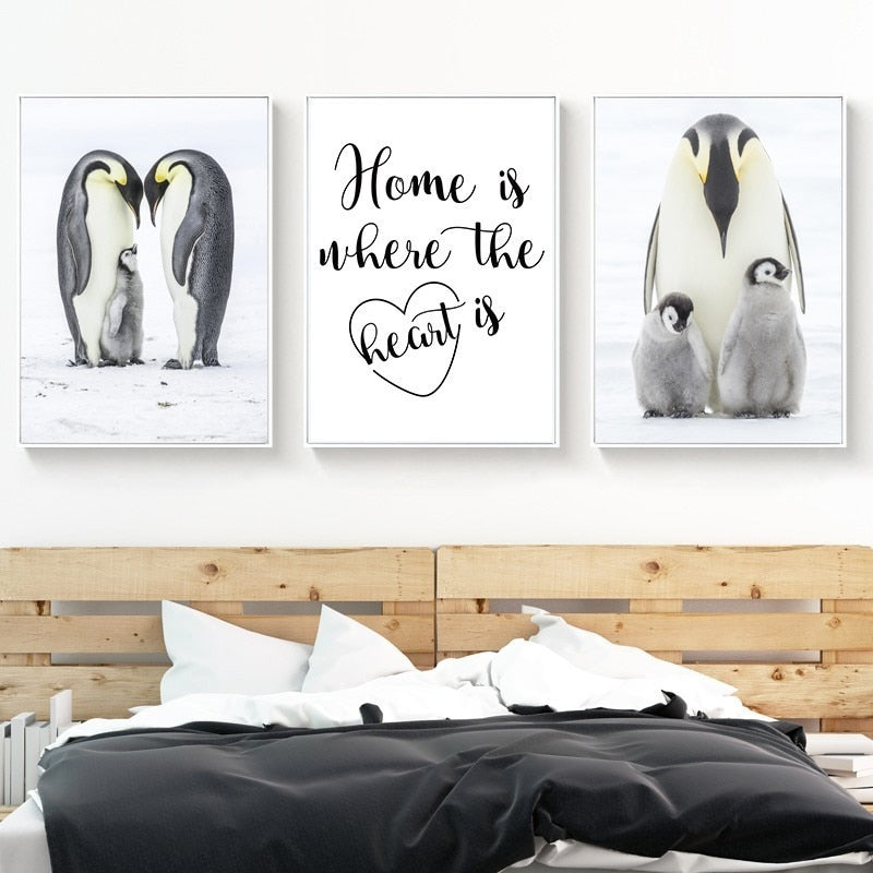 Penguin Family Love Begins At Home Cute Nordic Nursery Wall Art Fine Art Canvas Prints Modern Pictures & Quotes For Kids Room Wall Decoration
