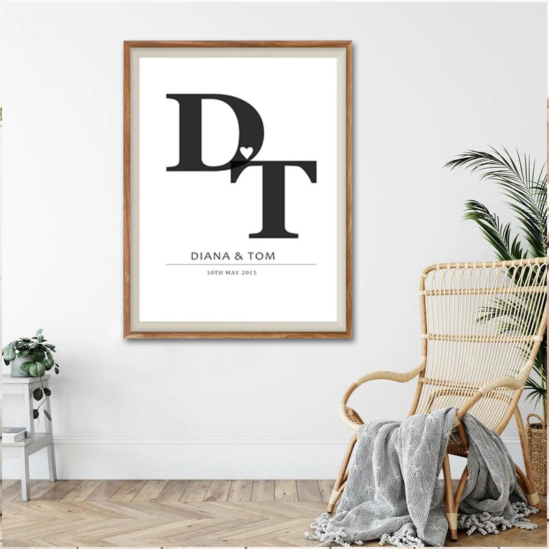 Personalized Initials Wall Art Black & White Fine Art Canvas Prints Customized With Your Names And Initials Perfect For Couples Weddings Celebrations Gifts etc