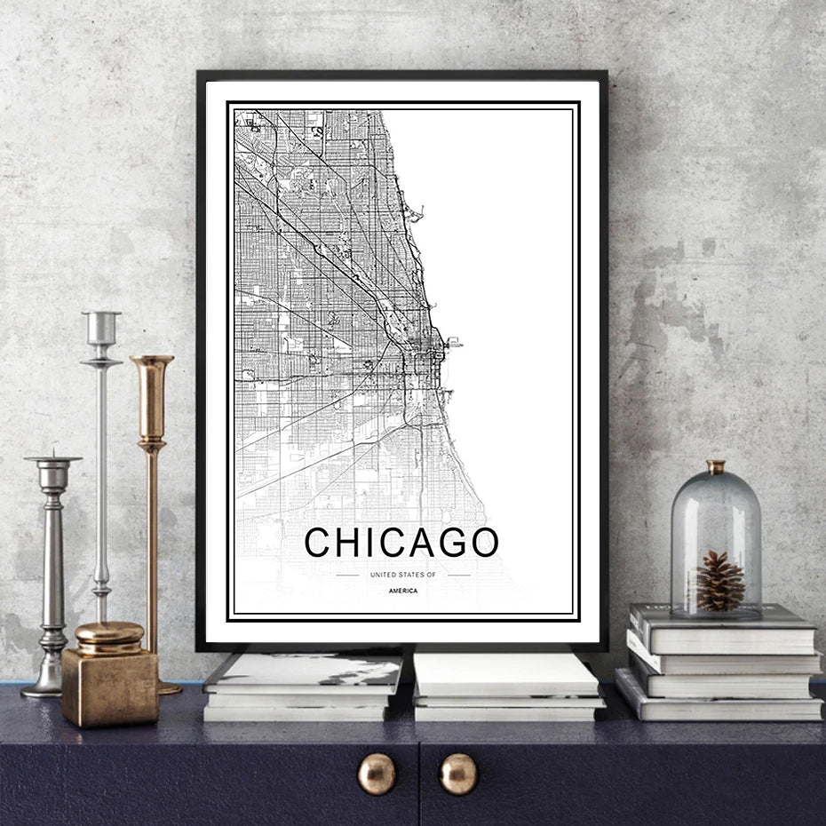 Personalized City Map For Your Wall - This High Resolution Highly Detailed Giclee Print Wall Map Picture Can Be Customized For Any City Or Town