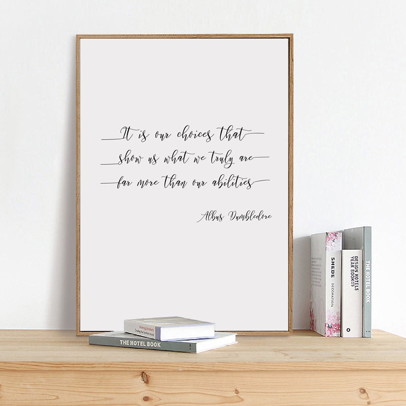 Philosophical Inspirational Harry Potter Quotations Black And White Calligraphy Fine Art Canvas Prints For Office Study Dorms Wall Art Decor