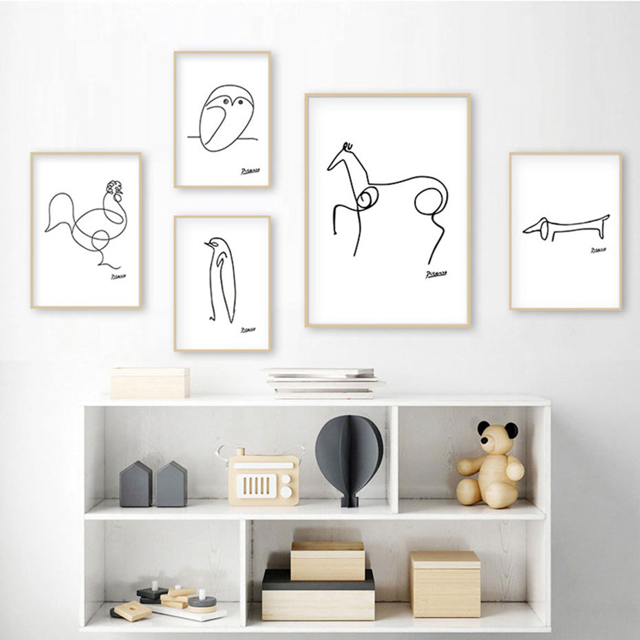 Picasso Abstract Animal Sketches Minimalist Wall Art Black & White Fine Art Canvas Prints Pictures For Living Room Bedroom Posters For Nursery Room Decor