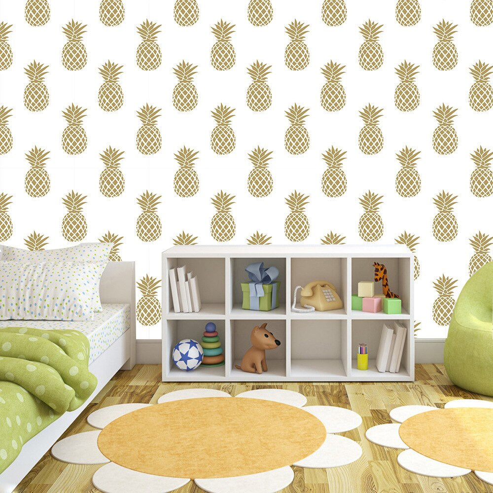 Pineapple Design Peel and Stick Vinyl Wall Mural PVC Wallpaper Self Adhesive Covering For Walls Furniture Cabinet Surfaces Creative Nordic Style DIY Home Decor