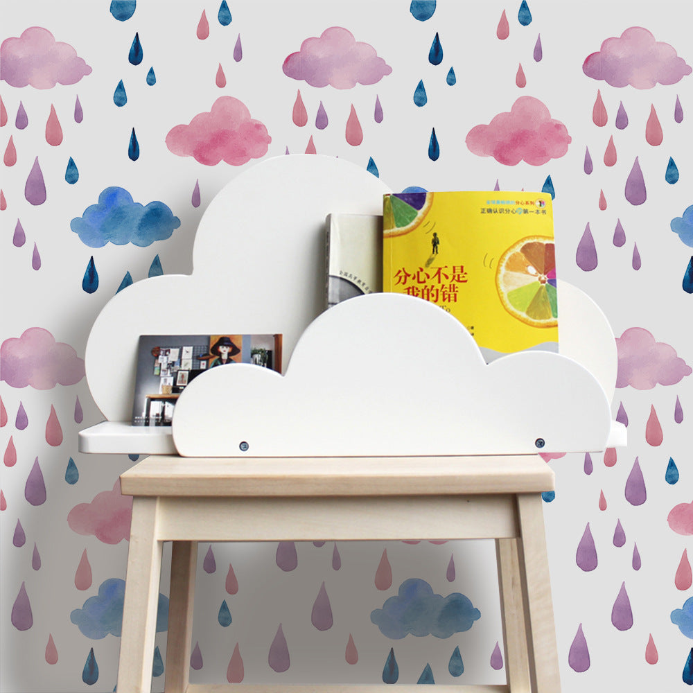 Pink And Blue Raindrops Cute Wall Mural Peel & Stick PVC Wallpaper Self Adhesive Covering For Furniture Cabinets Surfaces Creative DIY Nursery Wall Decor