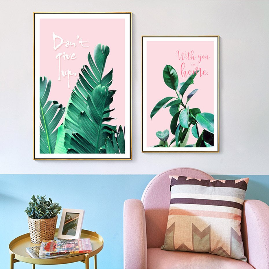 Pink And Green Leaves Wall Art Tropical Botany Palm Leaves And Monster Leaf Minimalist Nordic Quotation Pictures Scandinavian Interior Decor