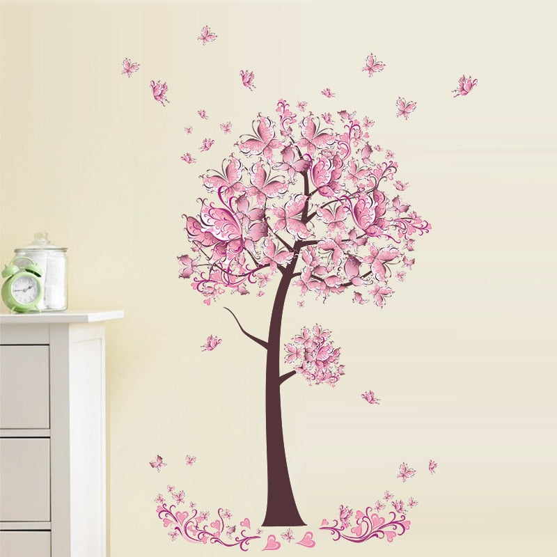 Pink Blossom Butterfly Tree Wall Decal Removable Peel-and-stick PVC Vinyl Wall Mural For Kid's Room Simple Modern Creative DIY Nursery Wall Decoration