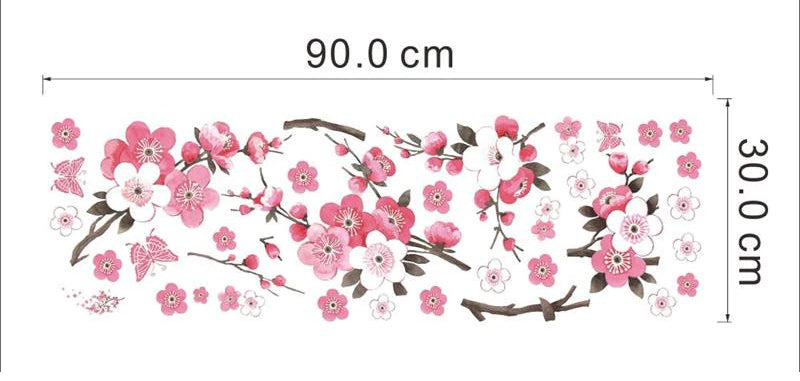 Pink Cherry Blossom Wall Mural Removable PVC Wall Decals Cherry Tree Branch Blossom Flowers Floral Wall Stickers For Bedroom Living Room Creative DIY Decor