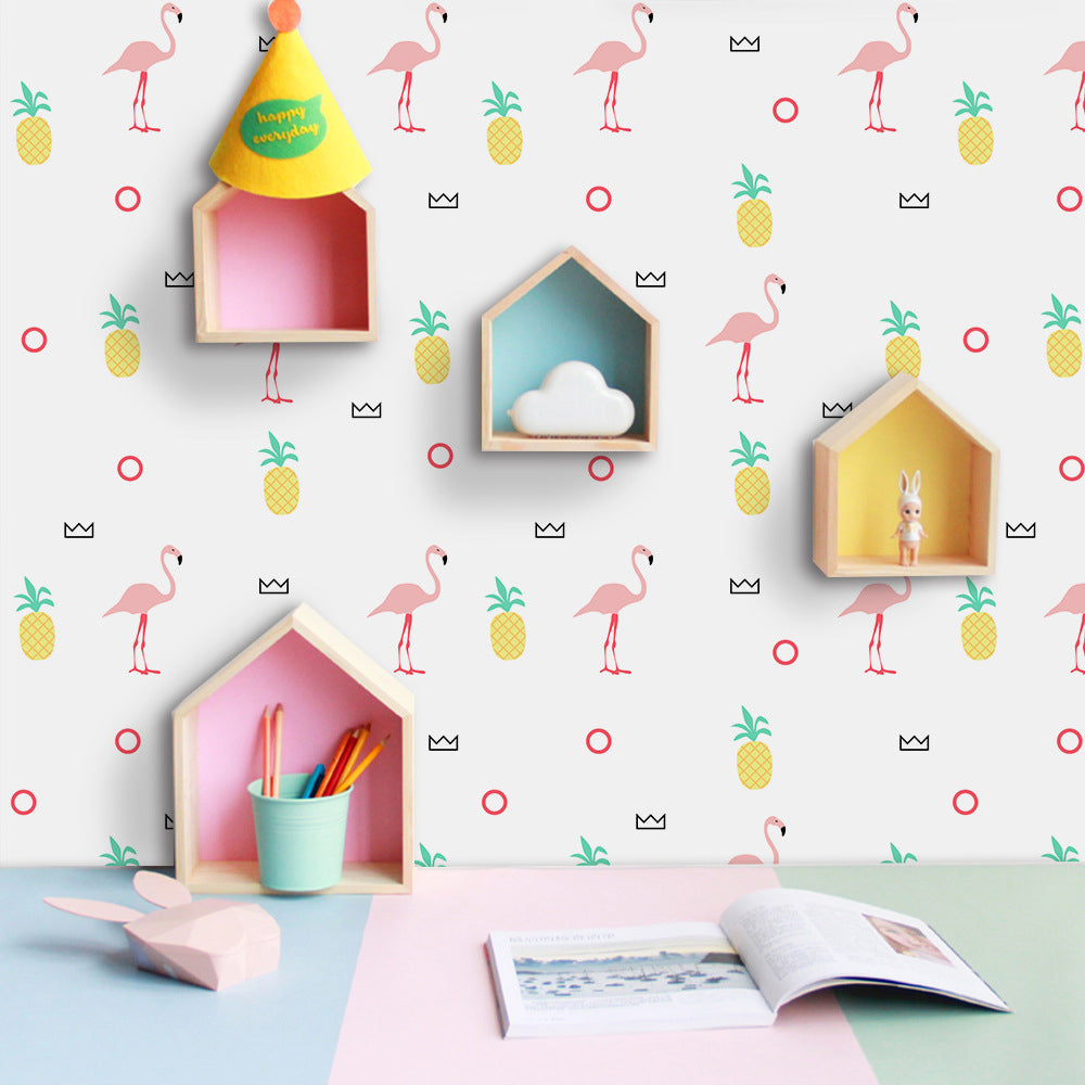 Pink Flamingo Pineapples Self Adhesive Vinyl Wall Mural Sticky-Back PVC Wallpaper Peel & Stick Creative Covering For Walls Furniture Cabinets Surfaces DIY Home Decor