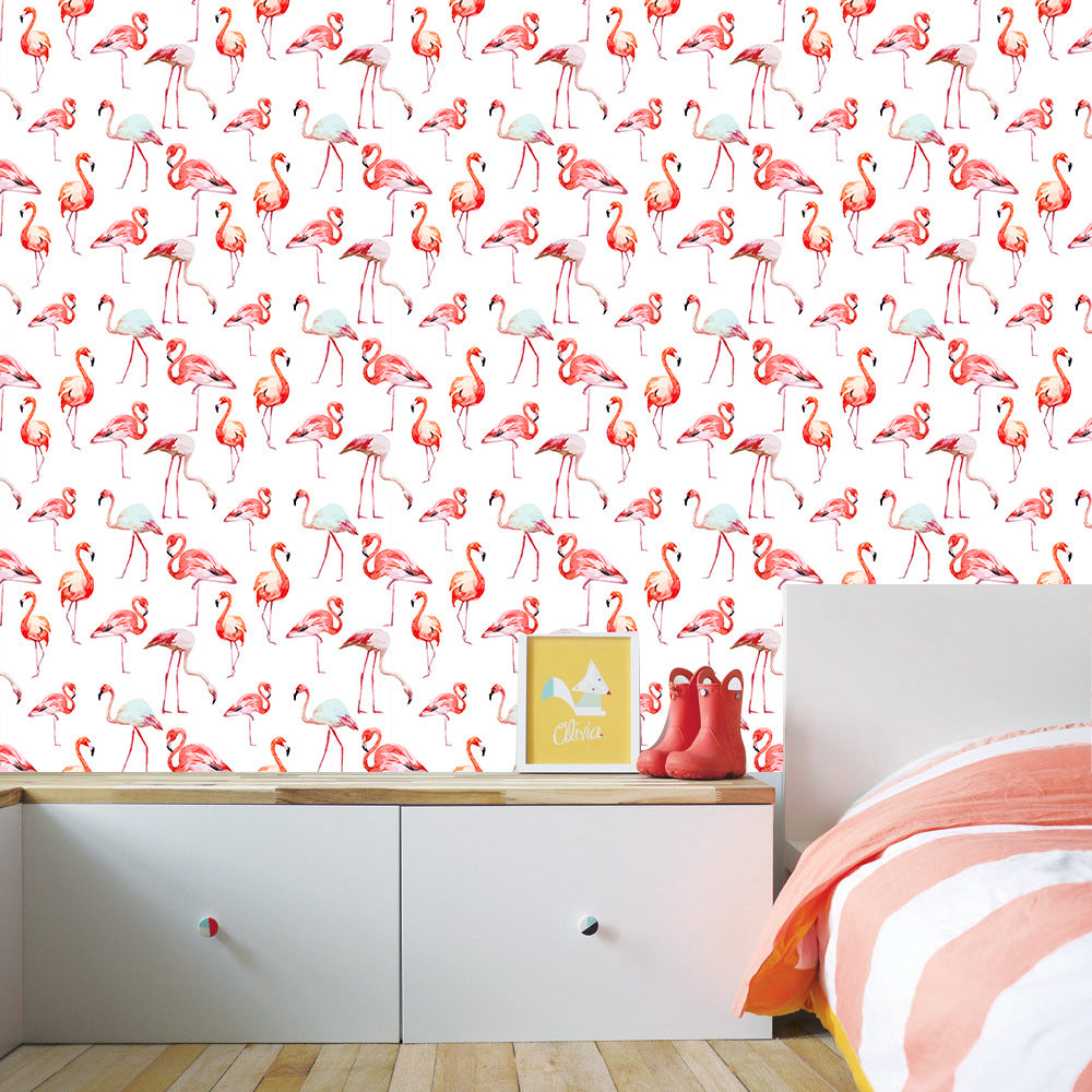 Pink Flamingo Peel and Stick Vinyl Wall Mural Self Adhesive PVC Wallpaper Covering For Walls Furniture Cabinet Surfaces Creative Nordic DIY Decor For Kids Room