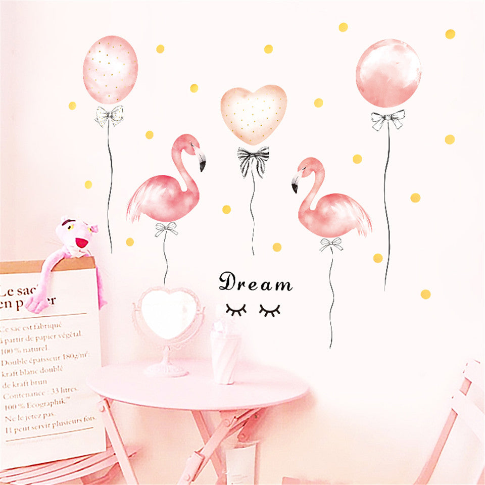 Pink Flamingos & Balloons Nursery Room Wall Mural Removable PVC Wall Decals For Kids Room Baby's Bedroom Decor Nordic Style Creative DIY Home Wall Art Decor