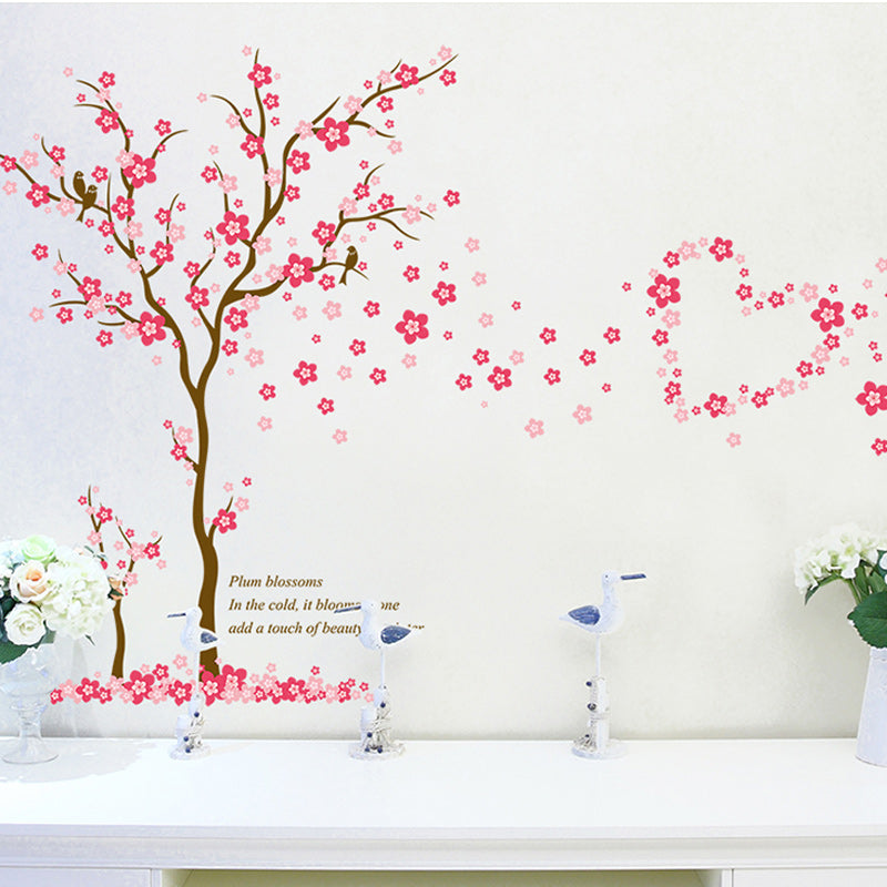 Pink Flower Blossom Tree Wall Decal For Kids Room Removable PVC Floral Wall Mural For Living Room Bedroom Creative Simple DIY Home Wall Art Decor