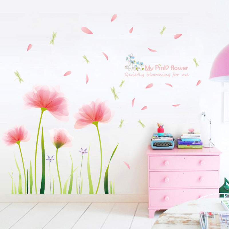 Pink Flower Garden Wall Mural Removable Peel-and-stick PVC Vinyl Wall Decal For Living Room Dining Room Simple Creative Wall Makeover DIY Wall Decor
