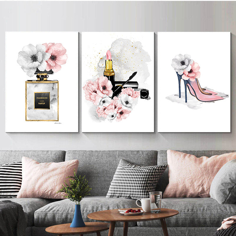Pink Lipstick Paris Perfume Fashion Wall Art Fine Art Canvas Prints Glamour Makeup High Heels Party Posters Salon Pictures Girls Bedroom Wall Art Decor