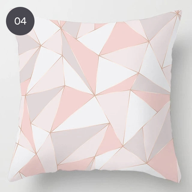 Pink Marble 45x45cm Cushion Cover For Sofa Throw Cushions Pillowcase Feather Print Geometric Design Pillow Cover Nordic Style Living Room Decor
