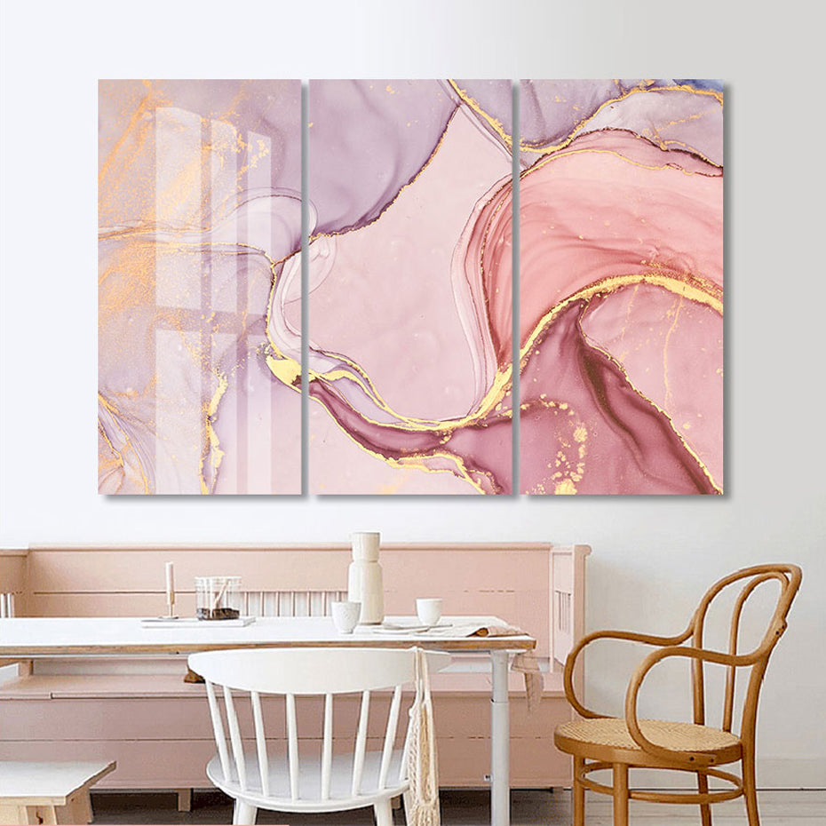 Pink Marble Abstract Set of 3 Wall Art Fine Art Canvas Prints Pictures For Above Sofa Or Above Bed Pictures For Bedroom Living Room Modern Wall Art Decor