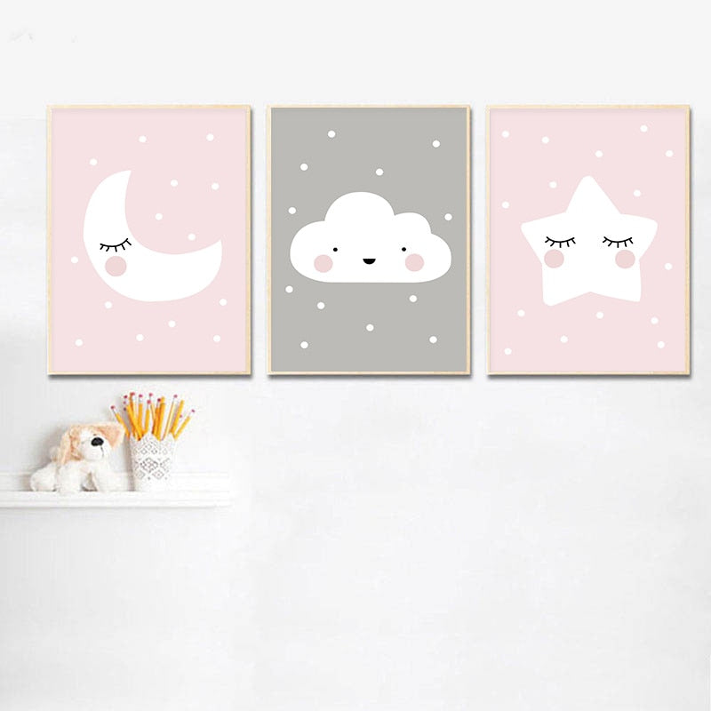 Pink Moon Star Cloud Nursery Wall Decor Fine Art Canvas Prints Cute Minimalist Nordic Style Posters For Kid's Bedroom Baby's Room Wall Art Decoration