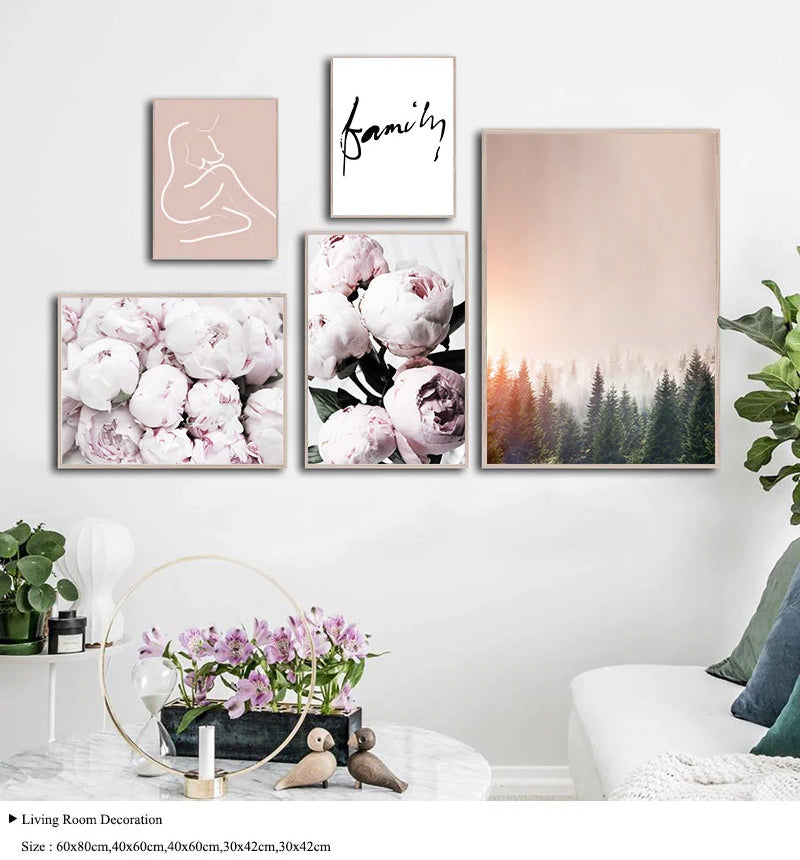 Pink Peonies Minimalist Scandinavian Gallery Wall Art Fine Art Canvas  Prints Nordic Style Pictures For Living Room Bedroom Modern Home Decor