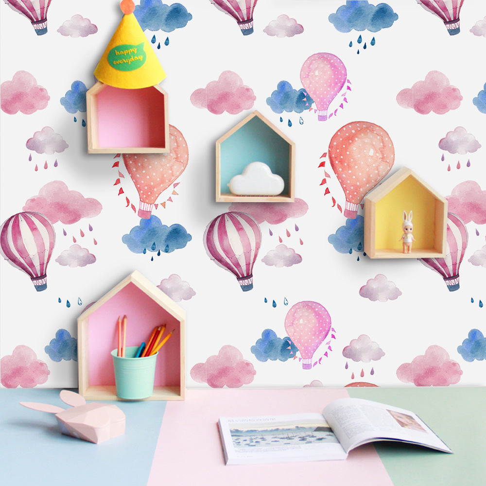 Pink Purple Balloons Self Adhesive PVC Wallpaper Peel & Stick Vinyl Wall Mural Sticky Back Covering For Furniture Cabinets Surfaces Creative DIY Nursery Room Decor