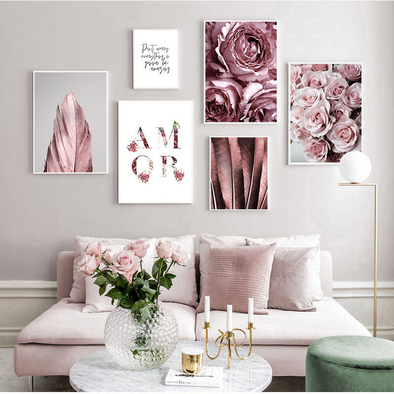 Pink Rose Floral Feather Scandinavian Wall Art Fine Art Canvas Prints Minimalist Amor Letters & Text Nordic Fashion Gallery Pictures For Loving Room Interior Decor