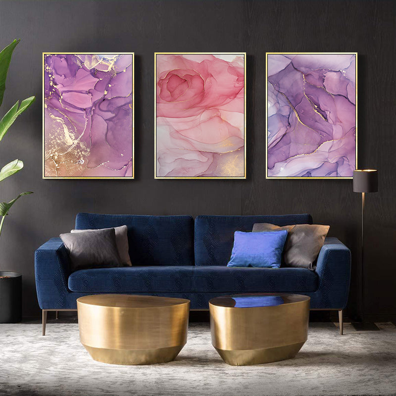 Pink Rose Gold Marble Wall Art Modern Elegant Fine Art Canvas Prints Nordic Style Contemporary Pictures For Living Room Bedroom Home Decor