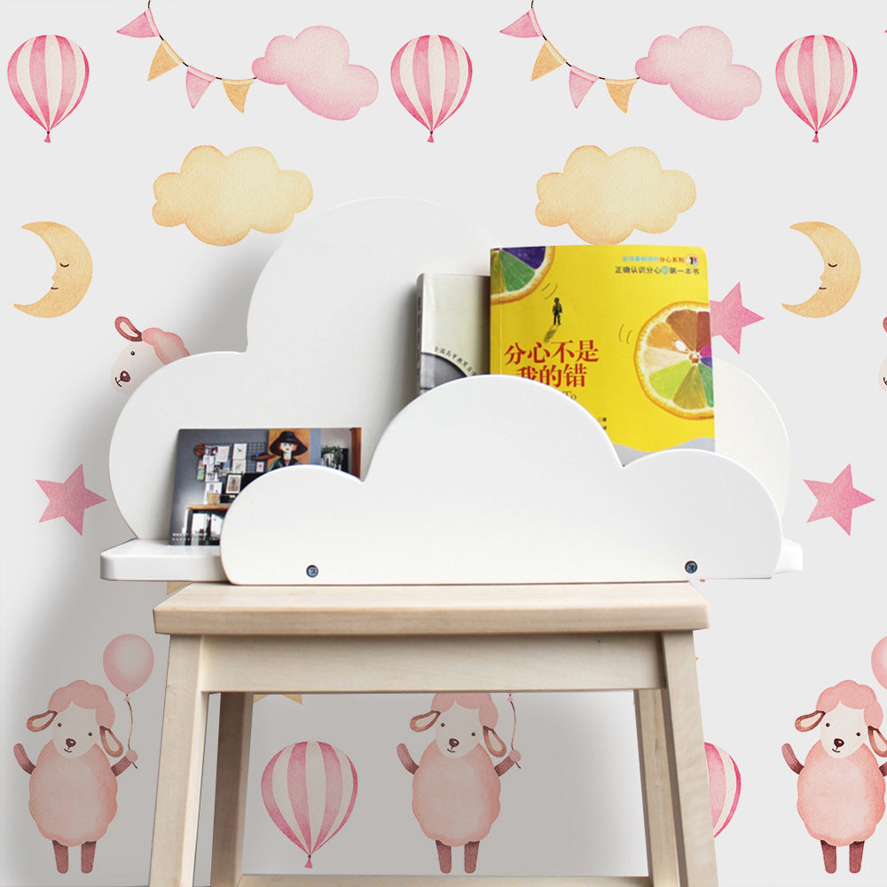 Pink Sheep And Balloons Vinyl Wall Mural Peel and Stick PVC Wallpaper Self Adhesive Covering For Walls Furniture Cabinet Surfaces Creative DIY Kids Room Nursery Decor