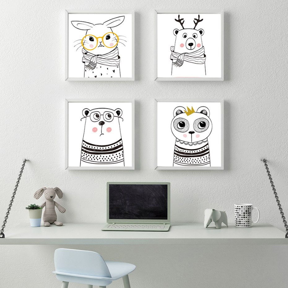 Playful Nordic Cartoon Characters Cute Animals Abstract Minimalist Wall Art Sketch Prints Canvas Paintings For Kids Room Nursery Home Decor