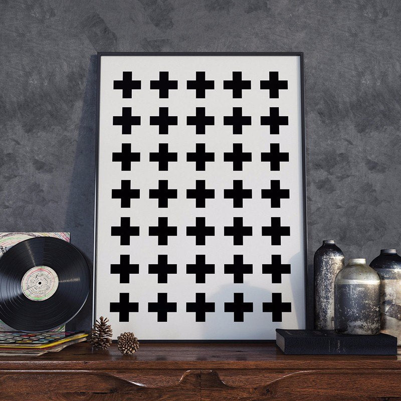 Positive Plus Plus Abstract Crosses Black and White Canvas Posters Minimalist Nordic Wall Art Prints For Modern Office or Home Decor