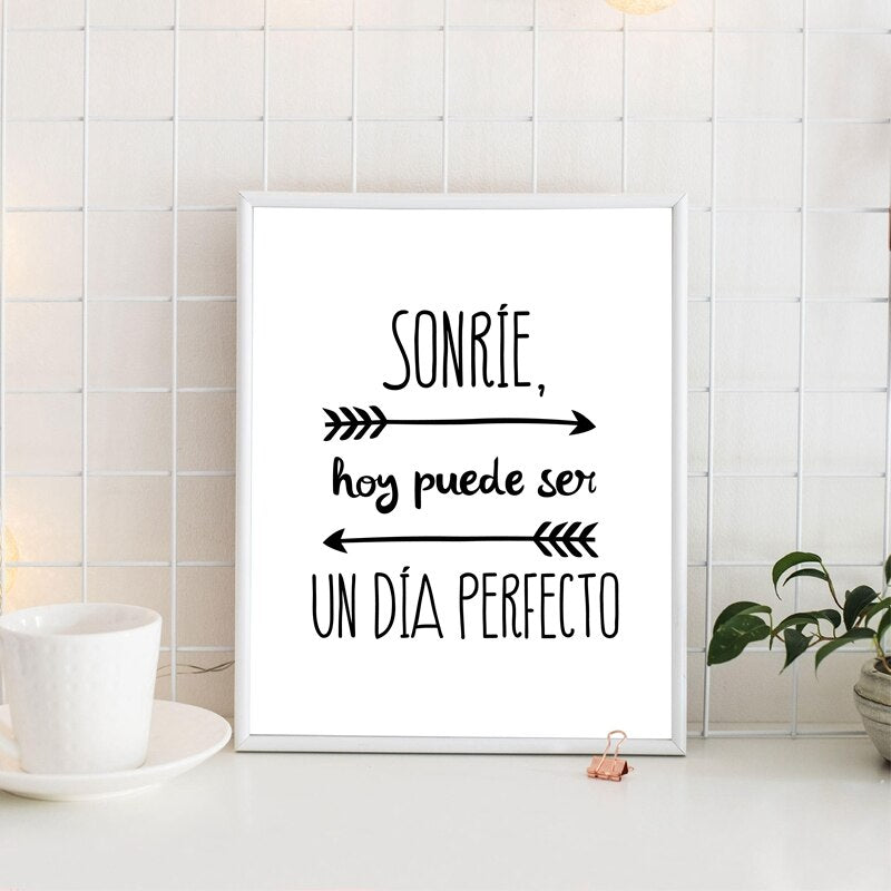 Positive Quotes In Spanish Wall Art Fine Art Canvas Prints Minimalist Black White Inspirational Daily Mantra Motivational Posters For Study Room Dorm Wall Decor