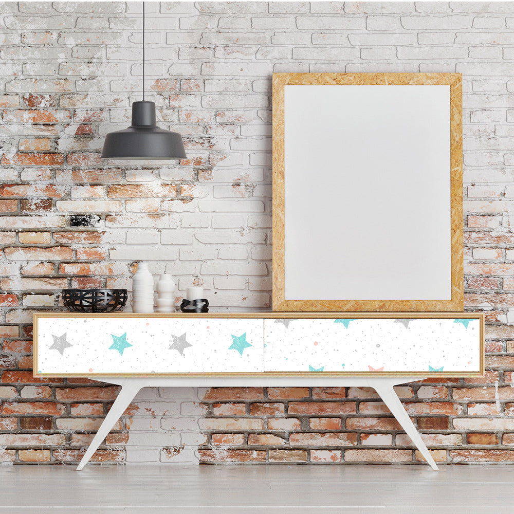 Pretty Cute Stars Self Adhesive Vinyl Wall Mural Peel and Stick PVC Wallpaper For Decorating Walls Furniture Cabinet Surfaces Creative DIY For Girls Room Decor
