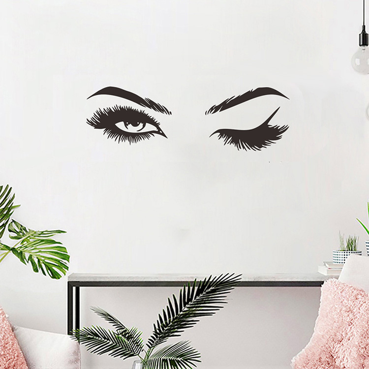 Pretty Eyes Eyelashes Wall Decal For Girls Room Stylish Mural Art Decal Removable Wall Sticker DIY Wall Decoration For Salon Or Home Decor